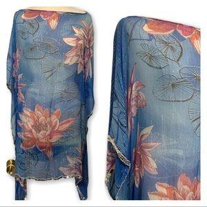 Soft Surroundings Silk Floral Blue Poncho Sz 20-24